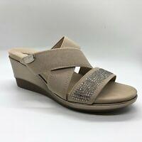 Anne Klein Polly Taupe Gold Wedge Dress Quartz Sandals Size 5 M