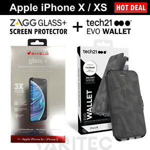 Zagg Glass Screen Protector + Tech21 Card Wallet Case Flip Cover For iPhone X XS