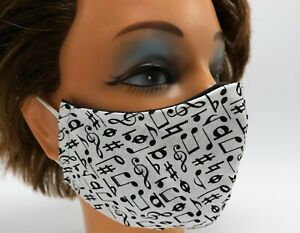 Music Note Print Washable Cloth Face Mask, Reusable Cotton Travel Face Cover