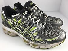 Men's ASICS GEL-NIMBUS 12 Men US 9.5 Gray + Green Athletic Running Shoes  J12