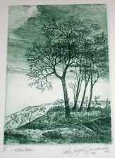 Etching HILLTOP TREES Artist Signed 1980 John J. Gerasimchik , NYC , Landscape
