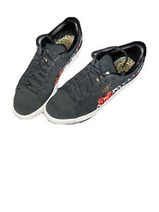 Puma Womens 8.5 50th Suede Hyper Embellished Floral Sneakers Shoes Black