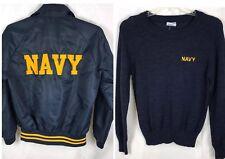 Vtg 70s Lot 2 Navy Mvp Bomber Jacket & Champion Crewneck Sweater Men's Medium M