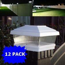 "12Pack White 5""X5"" Solar Powered Post Deck Cap Square Fence Light Lamp Sunlight"