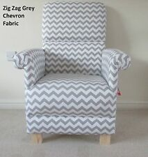 Grey Zig Zag Fabric Adult Chair White Chevron Nursery Lounge Bedroom Armchair