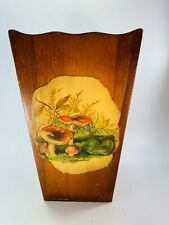 Vintage Trash Can Decoupage Mushroom Waste Cachepot 31998 Wood Wooden