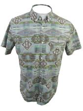 BROOKLYN CLOTH Men shirt short sleeve pit to pit 23 slim aztec print sz L cotton