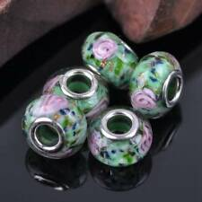 5pcs 15x9mm Rondelle Lampwork Glass Loose Big Hole Beads European Charms