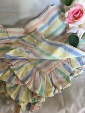 English Frilled 1940/50 Pair Rainbow Stripe Pillowcases Vintage Soft Touch