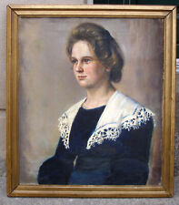 Elsa Ström Ciacelli (1876) Portrait of a young girl. 1899. Very rare oil.