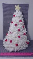 Handmade Crochet Knitted Christmas Tree White Red Vintage Decor