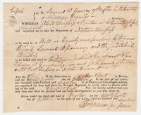 1817 Boston, MA Court Deposition Summons Signed by Justice of Peace & Constable