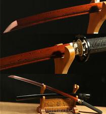 HANDMADE JAPANESE SWORD SAMURAI KATANA FULL TANG DAMASCUS FOLDED STEEL RED
