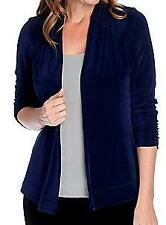 NEW Affinity for Knits Stretch Knit Ruched Sleeve Open Front Jacket - SZ M