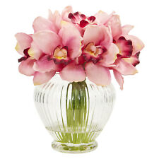 Cymbidium Orchid Artificial Silk Arrangement in Glass Vase,High Quality,5 Colors