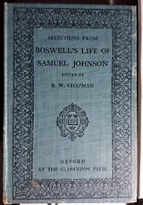 Boswell`s Life Of Samuel Johnson (selections from) R.W.Chapman 1918 Hardcover