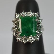 Emerald Diamond Cluster Fine Gemstone Rings