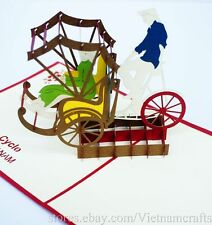 3D Paper Vietnamese Cyclo Men Pop up Card, Kirigami Popup Card, High Quality