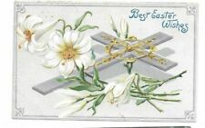 Antique embossed Tuck Easter Post Card Lily Silver Foil Cross