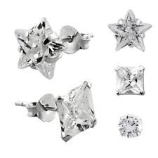 925 Sterling Silber Ohrstecker 1 Paar Hip Hop Ohrringe Zirkonia Ø 6mm - 10mm