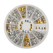 250pcs 3mm Nail Art Metallic Studs Punk Round Square Rhinestones Decoration