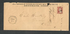 US Sc#25 Windham County Fire Ins. Adv Cover Brooklyn CT Sept 19