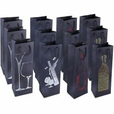 12-Pack Premium Wine Bottle Bags Party Gift Bags with Handles 4 Foiled Design