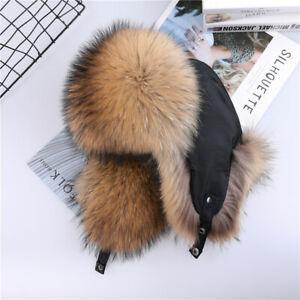 Unisex 100% Real Fox Raccoon Fur Hat Russian Ushanka Hats Women Men's Bomber Cap