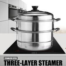 3 Tier Stainless Steel Pot Steamer Steam Cooking Cooker Cookware Hot Pot  /