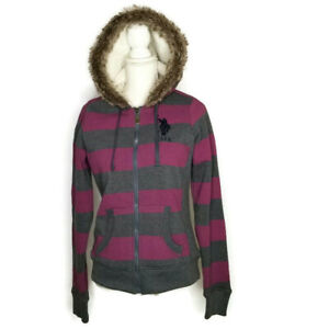 US Polo Coat Womens S Small Sherpa Lined Hooded Gray Pink Stripe Faux Fur Hood