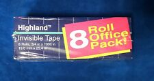 """8 Rolls 3M Highland Office Pack - 1"""" Core - Invisible Clear Tape 3/4"""" x 1000"""""""
