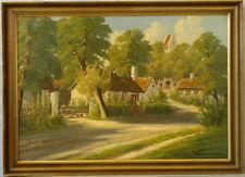 C. MERSING »Sonnige Dorfansicht mit Hühnern« 109x79 cm