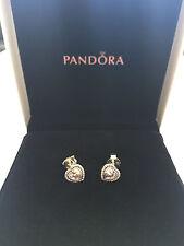 Pandora Argento Sterling 1 Paio Orecchini a forma di cuore frizzante ALE S925 290568cz
