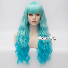 60CM Lolita Party Sky Blue Ombre Women Long Curly Heat Resistant Cosplay Wig