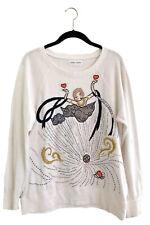 TSUMORI CHISATO Embroidered Beaded White Sweatshirt Sweater Dress XS Totokaelo