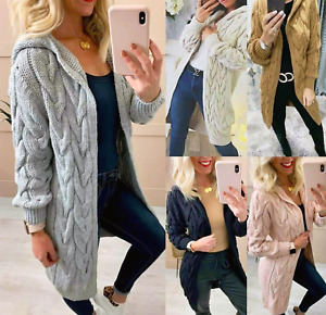 WOMENS CHUNKY CABLE KNITTED CARDIGAN LONG LINE HOODED CAPE OVERSIZED SHRUG UK
