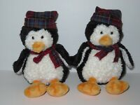 Mary Meyer Penguin Plush Stuffed Animal Toy Doll LOT Winter Plaid Scarf Hat Red
