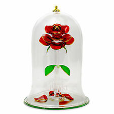 New Disney Arribas Beauty & the Beast Enchanted Rose Glass Sculpture Extra Large