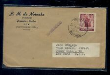 Portugal  India  stamp dealer cover  to  US