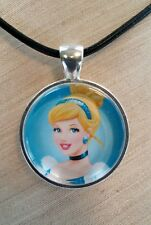 "Disney's "" CINDERELLA "" Glass Pendant with Leather Necklace"