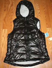 NWT Womens TANGERINE Black Quilted Puffer Hooded Vest Size L Large