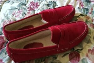 Cole Haan Red Suede Penny Loafers Size US 9.5B
