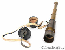 Maritime Brass Antique Telescope Leather Vintage Spyglass Lens Cap Hand Marine