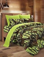 7 Piece QUEEN Neon Green Bedding Set Comforter and Sheets