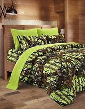 7 Piece FULL SIZE Neon LIME Green Bedding Set Comforter and Sheets FREE SHIPPING