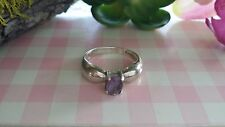 Beautiful Violet Purple CZ Bow Ribbon Ring 925 Sterling Silver *Size 8.25 *C538