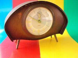 Vintage Mechanical Alarm Clock  Wind-Up WOOD 1960 ART DECO OLD STYLE GERMANY