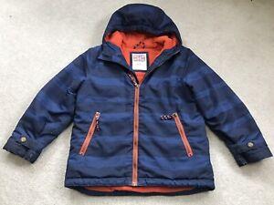 Boys Mini Boden Coat Age 7-8 Blue Stripe