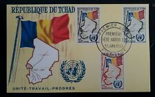 1961 Chad Admission into U.N. FDC Postcard ties 3 stamps Fort-Lamy
