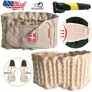 Lumbar Decompression Belt Back Brace Spinal Support Air Extender & Traction